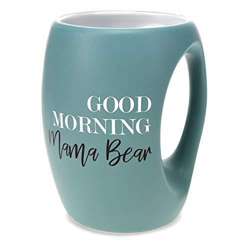 Pavilion Gift Company Good Morning Mama Bear-16 Oz Stoneware Huggable Coffee Cup Mug, 16oz, Blue