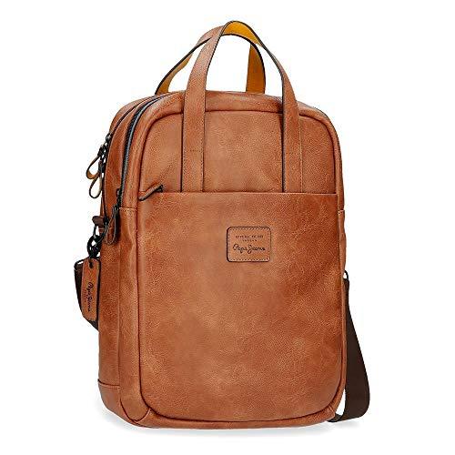 Pepe Jeans Vegan Laptop-Rucksack Braun 32x42x12 cms Synthetisches Leder 15,6
