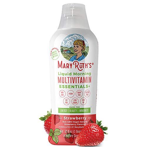 Immunity Morning Liquid Multivitamin + Zinc + Elderberry + Organic Whole Food Blend by MaryRuth's (Strawberry) Vitamin A B C D3 E Trace Minerals & Amino Acids 100% Vegan - Men Women Kids 0 Sugar 32oz