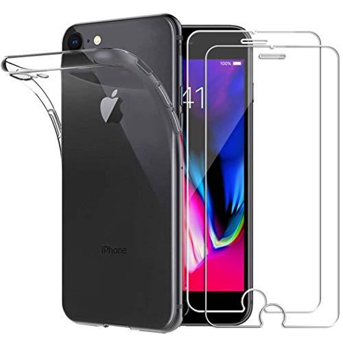 Yoowei Cover per iPhone SE 2020, Cover iPhone 8, Cover iPhone 7 Trasparente + [2-Pack Pellicola Protettiva in Vetro Temperato], Molle di TPU Silicone Ultra Sottile AntiGraffio Antiurto Custodia