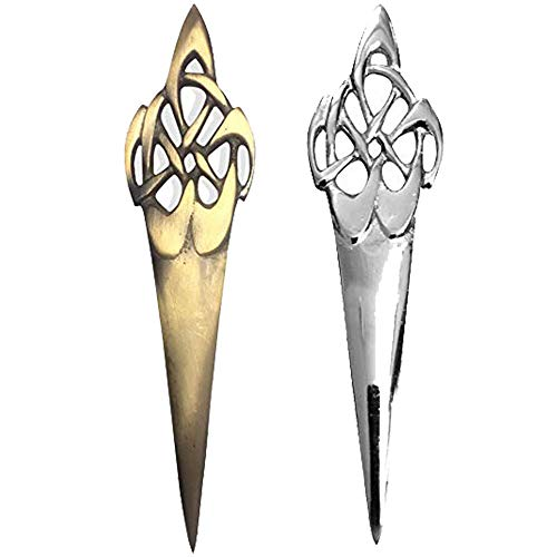 AAR Celtic Swirl Kilt Pin Chrome & Antique Finish 4' Highland Kilt Pins (Antique)
