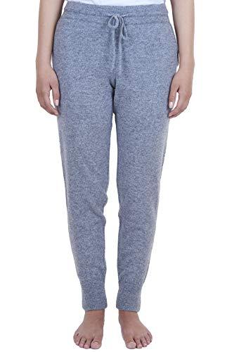 CASH-MERE.CH 100% Kaschmir Damen Yogahose, Jogginghose Sporthose, ideale Freizeithose und Trainingshose (Grau, M)