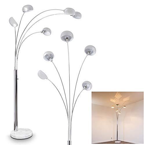 Stehlampe Nikkala, dimmbare Stehleuchte aus Metall in Chrom mit Lichteffekt, 5 x E14 max. 40 Watt, Standleuchte mit stufenlosem Drehdimmer am Gehäuse und Sockel aus Marmor