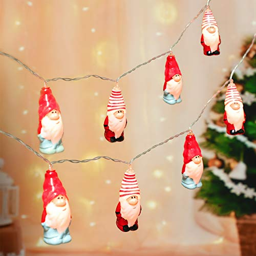 Mudder Christmas Gnome LED String Lights 5.9 Feet 10 LED String Lights Christmas LED Gnome Lights Xmas Gnome String Lights for Christmas, Party, Wedding Decor Christmas Tree Decorations