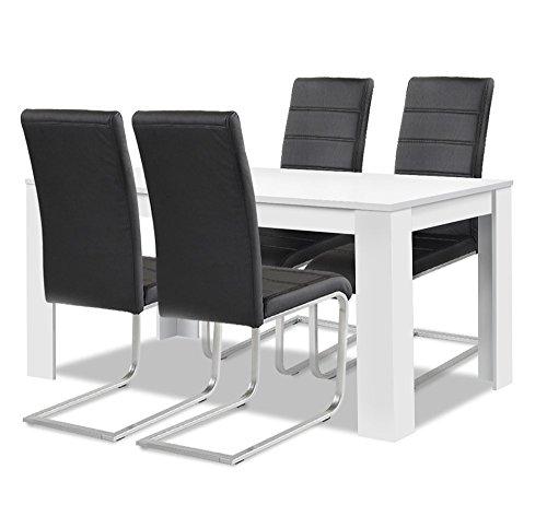 agionda® Esstisch Stuhlset : 1 x Esstisch Toledo Weiss 140 x 90 4 Freischwinger schwarz