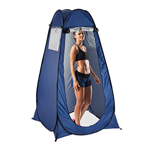 Relaxdays Pop Up Umkleidezelt, H x B x T: 190 x 120 x 120 cm, Wurfzelt, wasserabweisend, kleines Packmaß, UV 50+, blau