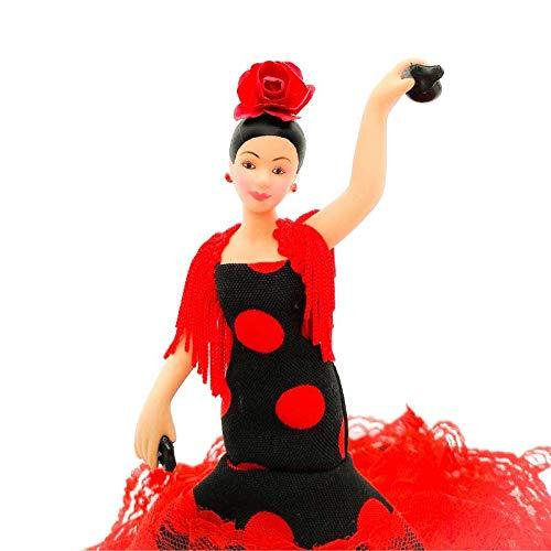 Folk Artesanía Muñeca Porcelana andaluza o Flamenca 18 cm Lunares (Rojo Lunar Negro)