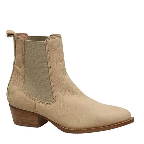 Felmini - Zapatos para Mujer - Enamorarse com Texana B872 - Botines Cowboy & Biker - Cuero Genuino - Beige