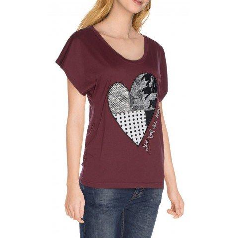 Desigual Ts_Beget - Camiseta para mujer, rojo, S