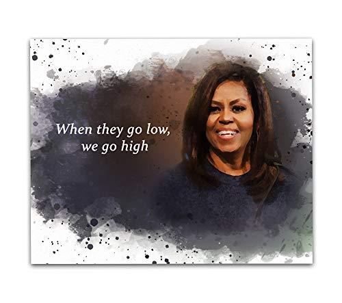 Impressão artística emoldurada de parede com citação de Michelle Obama, 20 x 25 cm - Icônica história preta antiga primeira dama Obama sala de aula decoração de parede, ideal para meninas, mulheres, bibliotecários, historiadores e professores