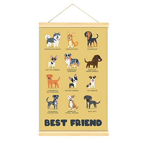 WPQL Perros diferentes razas hombres mejor amigo dormitorio moderno arte colgante cartel mural decorativo arte clásico cartel 40 x 60 cm