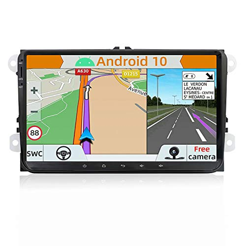 YUNTX Android 10 Double DIN Car Stereo Fit for VW Golf/Skoda/Seat - 9 Inch Car Navigation Head Unit with Free Rear Camera&Canbus| Support GPS |Dab+ |SWC|Bluetooth| Mirrorlink| USB| WiFi| Touch Screen