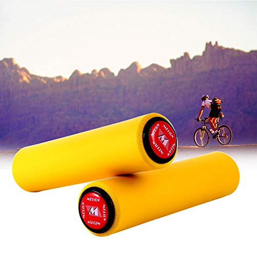 Haofy Puños de Bicicleta, 1 par de Puños para Bicicleta Mango de Silicona para Manillar, Agarre Manillar de Ciclo, BMX, MTB, Bicicleta de Carreras (Amarillo)