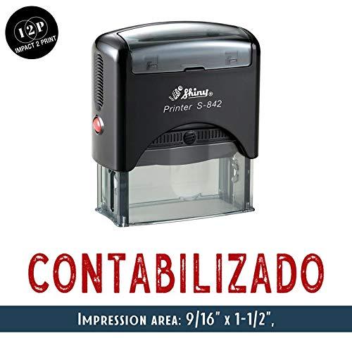 IMPACT2PRINT Brillante Sello De Goma Auto-Entintado S-842 CONTABILIZADO Oficina De Sellos De Negocios Personalizados Estacionarios