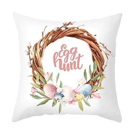 Mku Feliz Pascua Fundas De Cojín De Primavera Huevos Conejos Flores Fundas De Almohada Decorativas Decoración Del Hogar Para Sofá Sofá Al Aire Libre