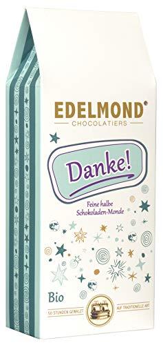 """Edelmond """"Danke"""" - Bio Schokoladen-Drops. Frucht und Milchschokolade als Geschenk Idee. Das Dankeschön für Frauen und Männer. Ohne Emulgatoren oder Farbstoffe in der 125 gr. Box"""