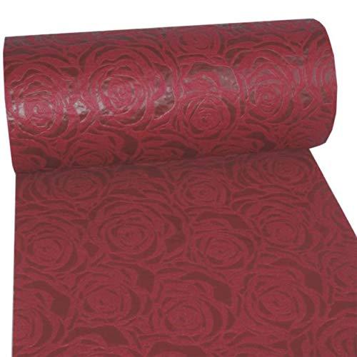 Dekoflor Tischband Tischläufer Tischdeko einzigartiges Rosen Design (Wasserfest, Lotuseffekt, samtige Oberfläche, 25 m Rolle, 30 cm Breite, 100% Nylon), Bordeaux