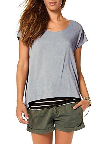 Jusfitsu Damen Sommer Kurzarm T-Shirt Rundhals mit Gestreiftes Oberteil Tops Bluse Shirt in 2-in-1 Optik Grau S