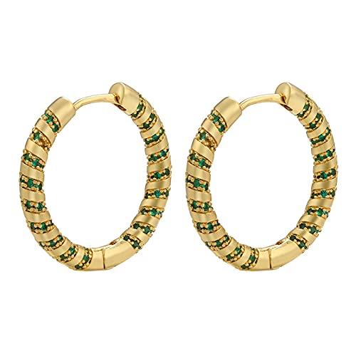 Pendientes de aro pequeños redondos de color oro plateado Pendientes de aro de tornillo de cristal verde Joyería de moda 2,5 CM
