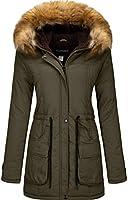 YXP Women's Winter Thicken Military Parka Jacket Warm Fleece Cotton Coat with Fur Hood
