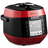 COSTWAY 5.3 Qt Electric Pressure Cooker 12-in-1 Multi-Use Programmable Slow Cooker with Led Control Panel, Three Taste Choice, Instant Cooking with Pre-setting Time and Pressure Adjustment, Stainless Steel and Non Stick Pot(Red)