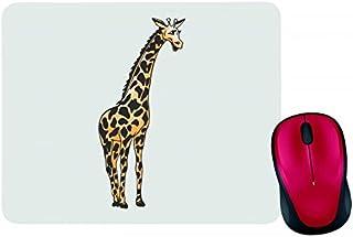 Alfombrilla para ratón con diseño de jirafa y texto en alemán, color negro, blanco, azul, rosa, amarillo, rojo y verde, co...