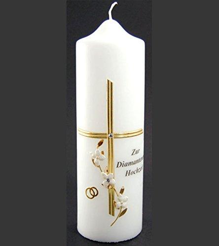 Braut-Kerze zur Diamantenen Hochzeit, 220/70,Kreuz