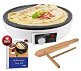 12' Electric Crepe Maker by StarBlue with FREE Recipes e-book and Wooden Spatula - Nonstick and...