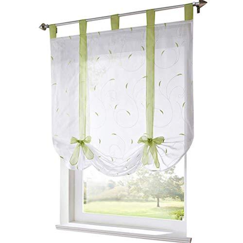 ESLIR Raffrollo mit Schlaufen Raffgardinen Gardinen Küche Bindegardine Transparent Schlaufenrollo Vorhänge mit Stickerei Modern Voile Grün BxH 120x140cm 1 Stück