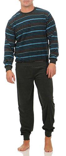 Unbekannt Herren Frottee Pyjama lang mit Bündchen in Streifenoptik in Grösse 46-50030, Farbe:Marine/türkis;Größe:46