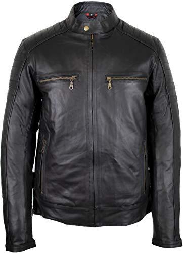 MDM Motorrad Lederjacke mit Protektoren in schwarz aus echtem Rindsleder (2XL)