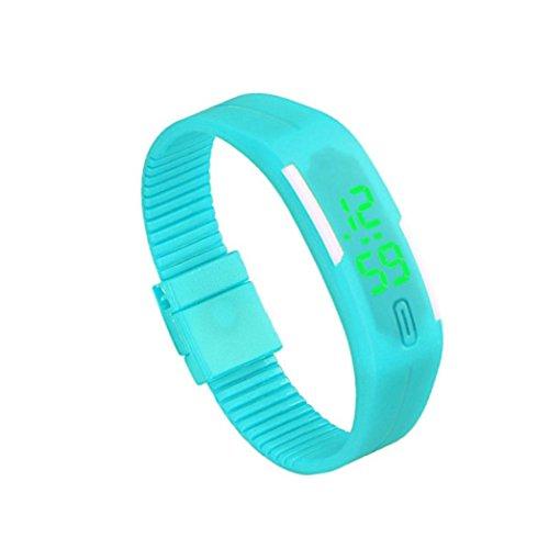 Ouneed® Uhren, Deman Herren Gummi LED Uhr Datum Sports Armband Digital Armbanduhr (Himmelblau)