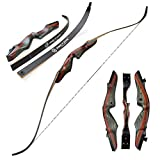 Archery 62 Inch Takedown Recurve Bow Hunting Bow and Arrow Kit Right H