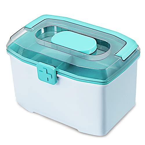 Medizinbox, Familien Erste-Hilfe-Box, Aufbewahrungsbox, tragbarer Medizinschrank, 2 Schichten mit Einer Mini-Pillenbox, multifunktionaler Kunststoff-Aufbewahrungskoffer für zu Hause im Freien (grün)…