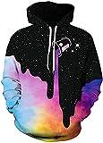 FLYCHEN Men's Digital Print Sweatshirts Hooded Top Galaxy Pattern Hoodie A-Black and Colourful SM