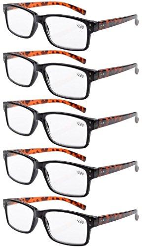 Eyekepper Mens Vintage Reading Glasses-5 Pack Black Frame with Tortoie Arms Glasses for Men Reading,+2.00 Reader Eyeglasses Women