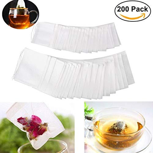 HJ Stay Real 200 Stück Feine Teebeutel Selbstbefüllbar Einweg, Drawstring Teefilter Beutel mit Eingewobenem Faden zum Verschließen für Tee Obsttee Teeblumen Gewürz Kräuterpulver(7 x 5.5CM und 9 x 7CM)