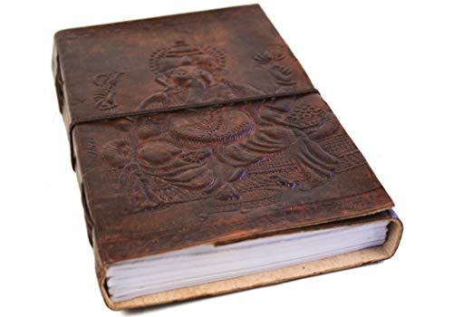 Life Arts Kamelleder Leder Notizbuch Handgefertigt (Ganesha, A5 Blanko)