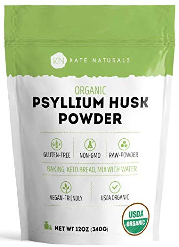 Organic Psyllium Husk Powder (12 oz) for Fiber and Keto by Kate Naturals. Perfect for Baking, Low Carb Bread and Consuming with Water. Gluten-Free & Non-GMO. Large Resealable Bag (12oz)