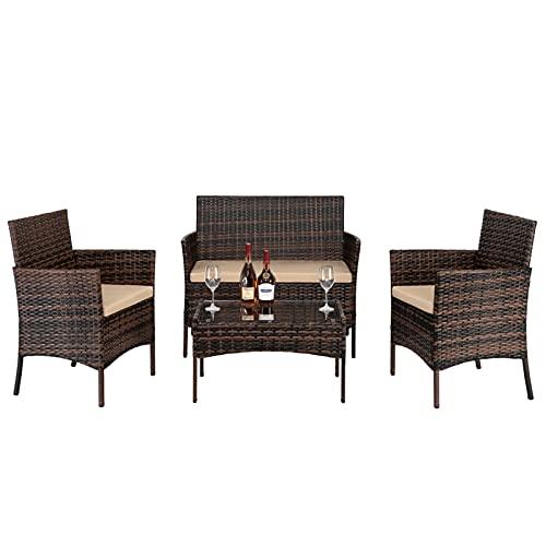 JYXJJKK Muebles de jardín Mesa de centro de ratán sofá conjunto 2 piezas sillón 1 pieza amor asiento y vidrio templado mesa de centro de ratán sofá combinación marrón degradado