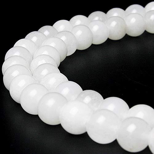 jartc Perlen Für Energie Armbänder Yoga Armband Armband DIY Naturstein Perlen Weiße Jade 95 Stück, 34 cm, 4 mm