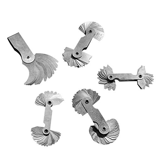 5Pcs Stainless Steel Radius Gauge, Portable Concave Convex External Internal Arc Measuring Tool Radius Fillet Gauge Set R0.3-1.5/ R1-6.5/ R7-14.5/ R15-25/ R25-50
