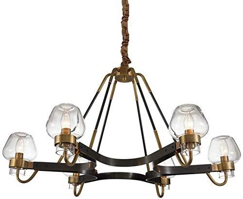LOKKRG Industrieglas 6-Licht Pendelleuchte Deckenleuchte Villa Wohnzimmer Hängelampe Schmiedeeisen Magic Beans Molecular Acryl Kronleuchter