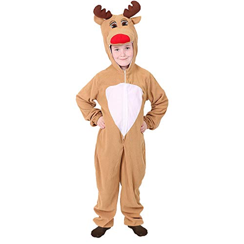 CHILD REINDEER COSTUME CHRISTMAS FANCY DRESS BOYS GIRLS ONESIE XMAS OUTFIT RUDOLPH SANTA'S HELPER RUDOLF REINDEER (5-7 YEARS)