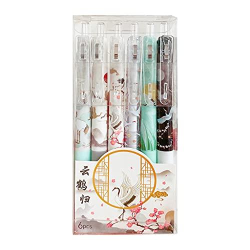 YAQINUO Confezione da 6 penne gel retrattili, ricaricabili, sigillate, 0,5 mm, ad asciugatura rapida, per pianificatori di riviste