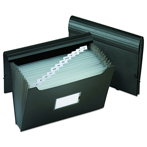 Pendaflex PFX82013 Poly Jumbo Expanding File with Elastic Cord, 13 Tabbed Pockets, Letter, Black