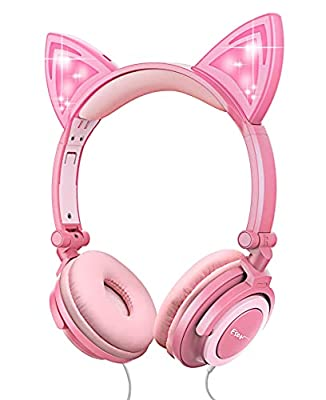 Kids Cat Ear Headphones for Girls Tablet School Supplies Gifts, Light Up Wired Adjustable Kids Headphones Foldable Over Ear Game Headset for Travel Birthday Christmas(Peach) from esonstyle