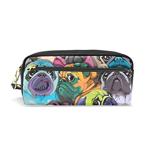 Pencil Case Many Pugs Large Capacity PU Leather Pen Bag Makeup Pouch Wallet Zipper Stationery Supplies for Boys Girls Teenages Women