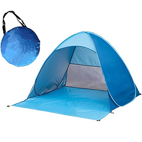 HYGRAD Pop Up Beach Tent,Rated UPF 50+ for UV Sun Protection,Waterproof Sun Shelters for Family Camping, Fishing, Picnic (Blue)