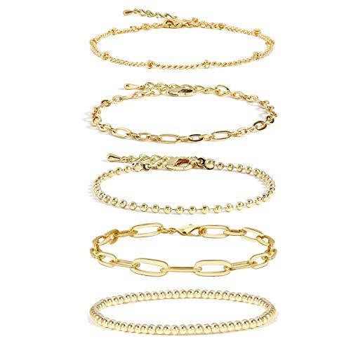 Gold Chain Bracelet Sets for Women Girls 14K Gold Plated Dainty Link Paperclip Bracelets Stake Adjustable Layered Metal Link Bracelet Set Fashion Jewelry. (Style-4)